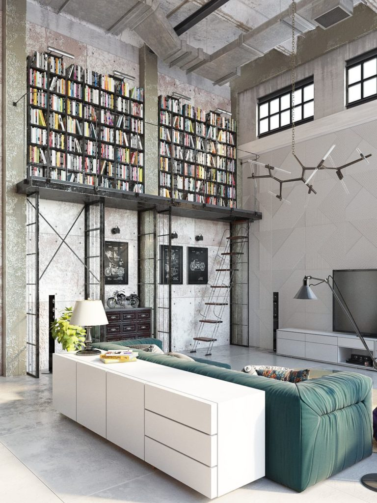 colorful industrial style apartment