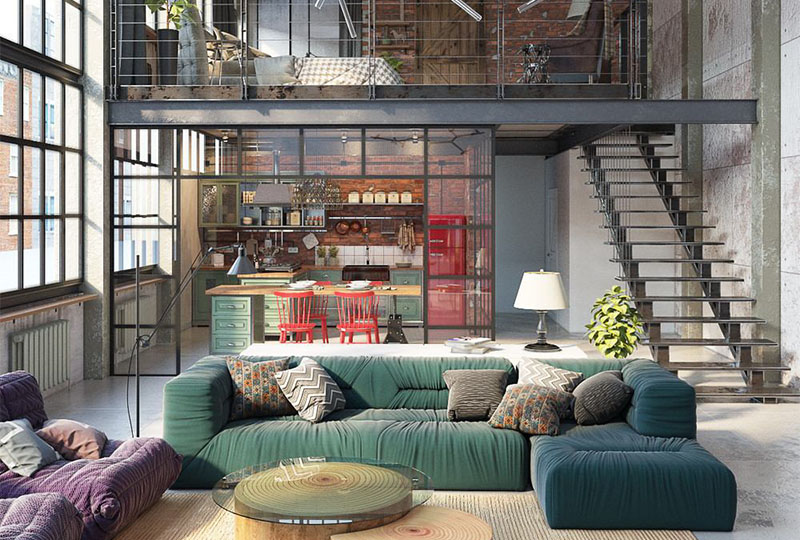 Budapest Loft Colorful Industrial Style Apartment Created From A Former Garment Factory Loftspiration